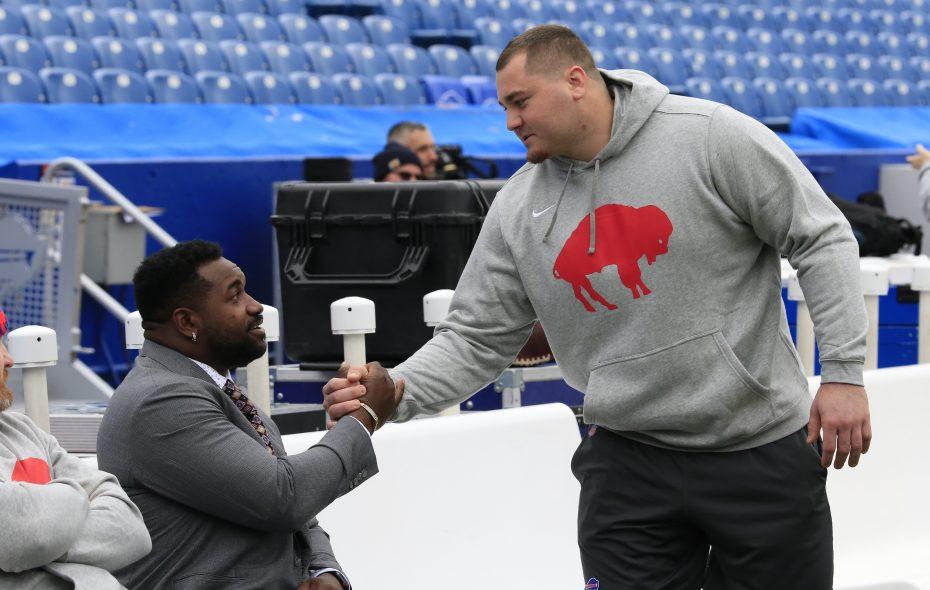 Buffalo Bills defensive lineman Harrison Phillips greets Jacksonville Jaguars' Marcell Dareus in pregame at New Era Field on Sunday, Nov. 25, 2018. (Harry Scull Jr./ Buffalo News)