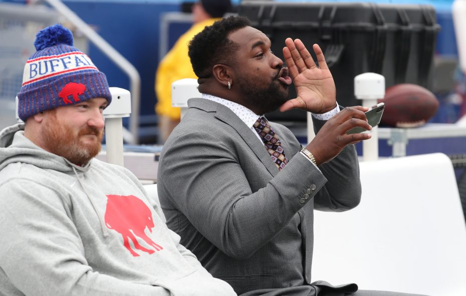 Buffalo Bills defensive tackle Kyle Williams (95) hangs with former teammate, now Jacksonville Jaguars defensive tackle Marcell Dareus (99) ,during pregame at New Era Field in Orchard Park, NY on Sunday, Nov. 25, 2018.  (James P. McCoy/Buffalo News)
