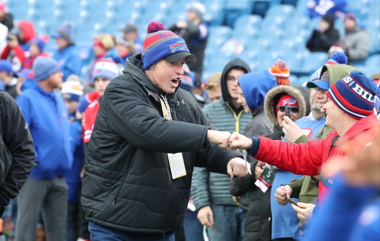 Bills Hall of Fame quarterback Jim Kelly greets fans before Sunday's game at New Era Field. (James P. McCoy/Buffalo News)