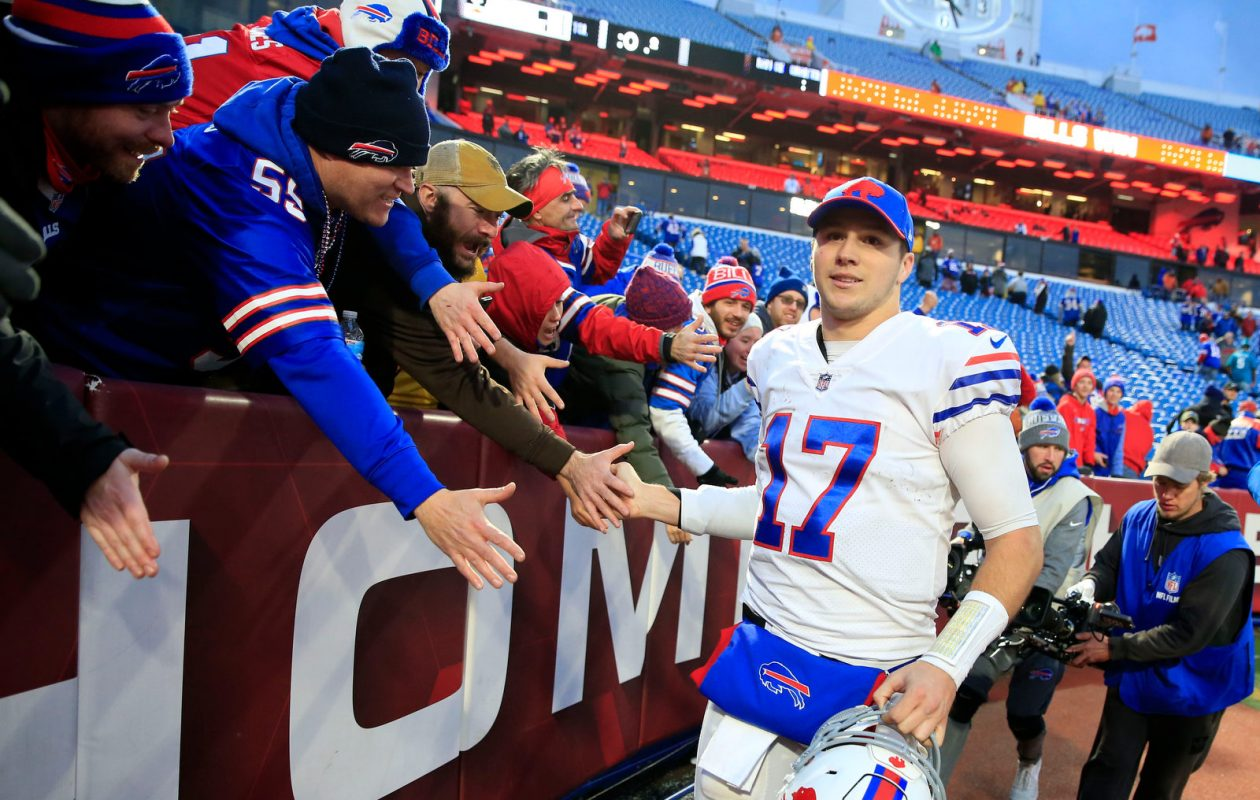 Buffalo Bills quarterback Josh Allen (17) celebrates with fans after defeating the Jacksonville Jaguars 24-21 at New Era Field in Orchard Park, Sunday, Nov. 25, 2018. (Harry Scull Jr./Buffalo News)