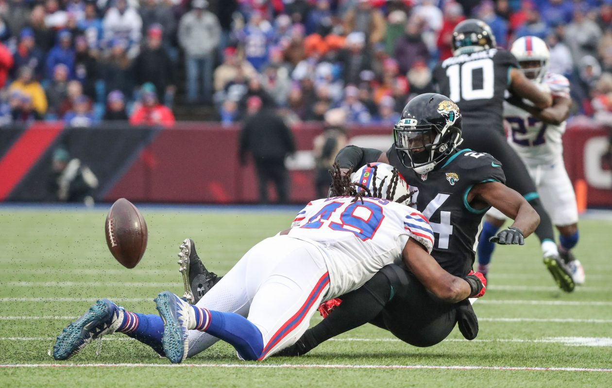Tremaine Edmunds breaks up a pass intended for Jacksonville Jaguars running back T.J. Yeldon. (James P. McCoy/Buffalo News)