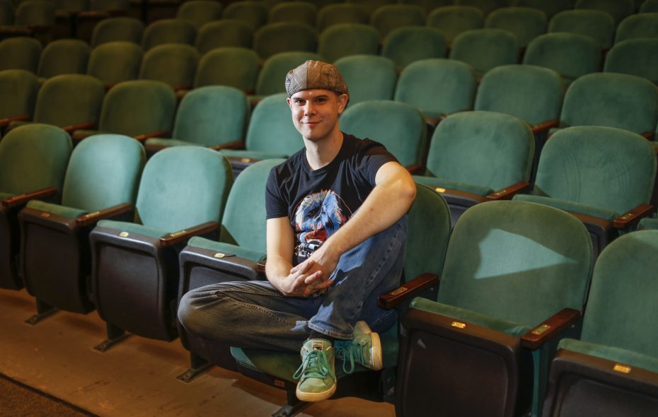 """Actor Dan Urtz, at the historic Allendale Theatre, wears a favorite outfit for Fashion Friday. He  reprises his role as Charlie Brown in this season's Theatre of Youth    production of """"A Charlie Brown Christmas.""""   (Derek Gee/Buffalo News)"""