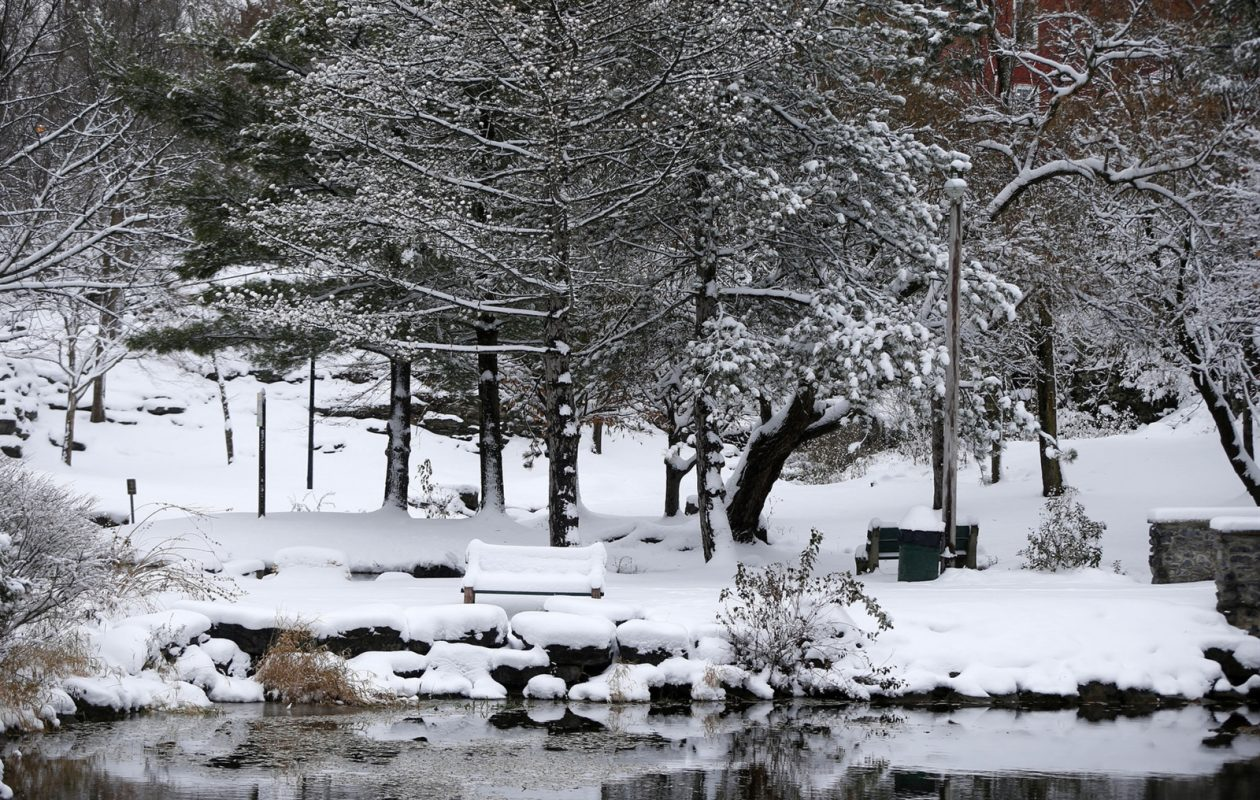 Snow covers the grounds at Glen Park in Williamsville on Wednesday, Nov. 28, 2018.(Mark Mulville/Buffalo News)