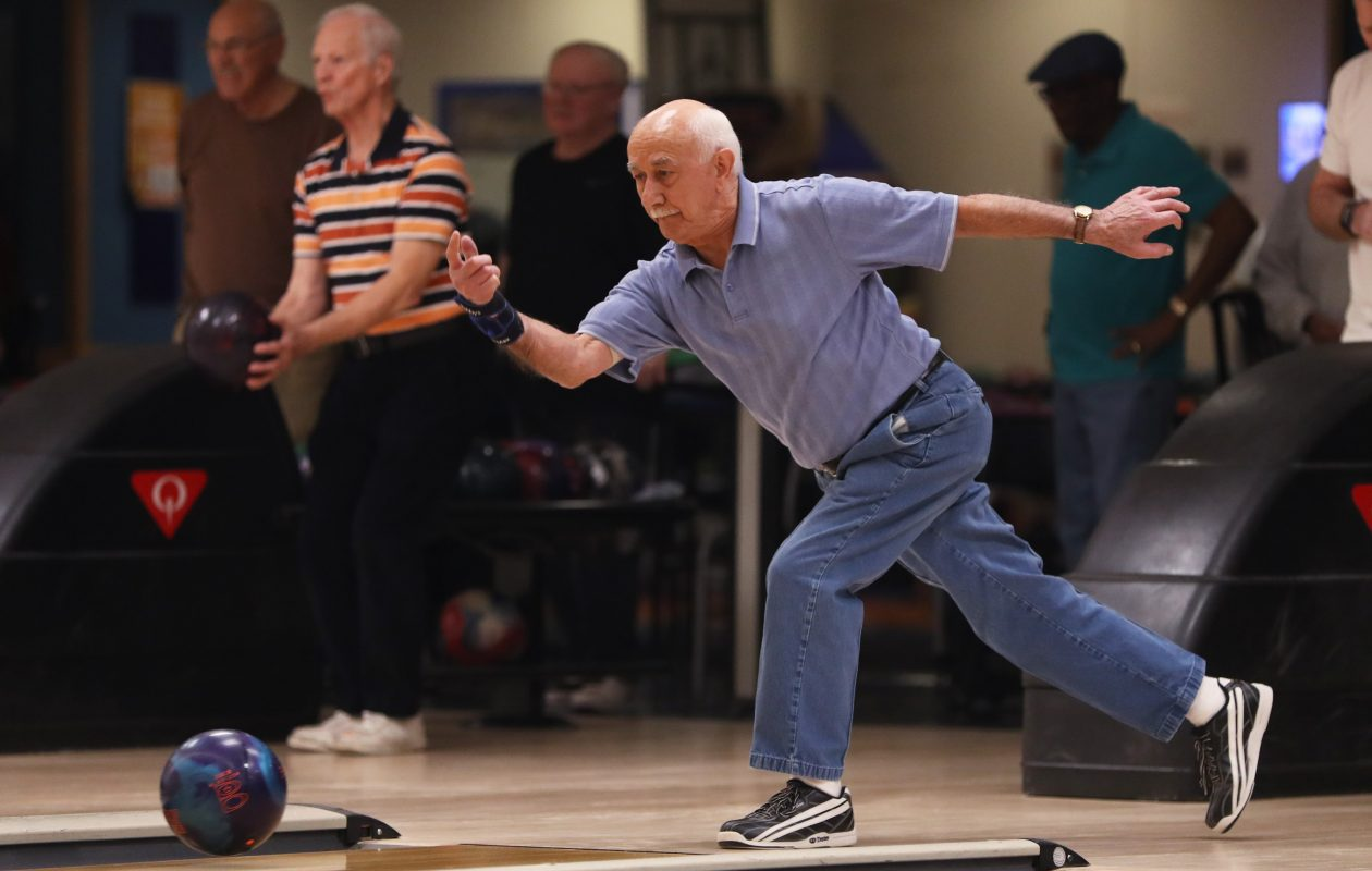 Vince Capaldi, 86, of Niagara Falls is the oldest person in the U.S. to bowl an 800 series in a sanctioned bowling league or event. Capaldi is shown here delivering a ball during the Friday Seniors League at Rapids Bowling Center in Niagara Falls, where he rolled an 804.  (Sharon Cantillon/Buffalo News)