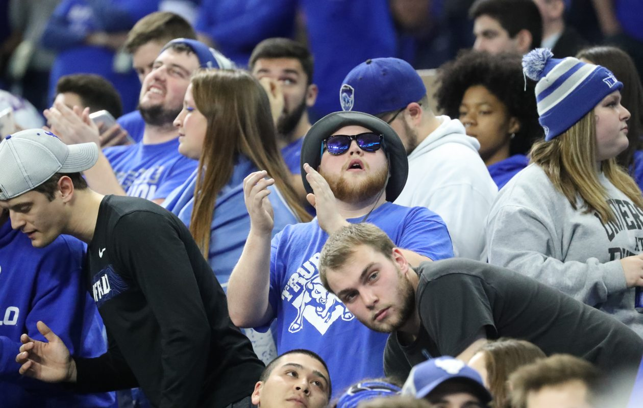 Buffalo Bulls fans cheer on their team in the first quarter during the MAC championship game. (James P. McCoy/Buffalo News)