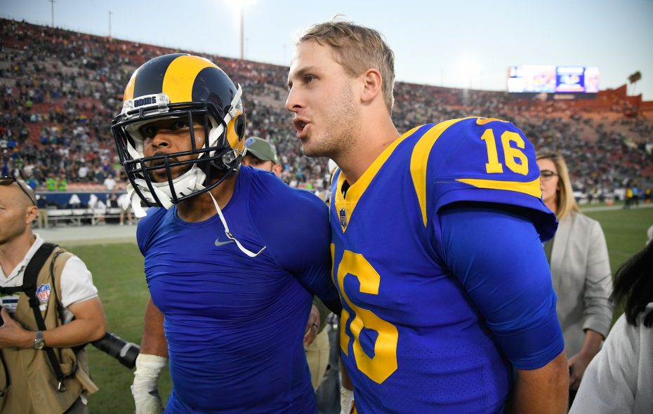 The New Orleans Saints' loss to the Dallas Cowboys on Thursday gives the Los Angeles Rams a clear path to home field advantage throughout the NFC playoffs. (Getty Images)