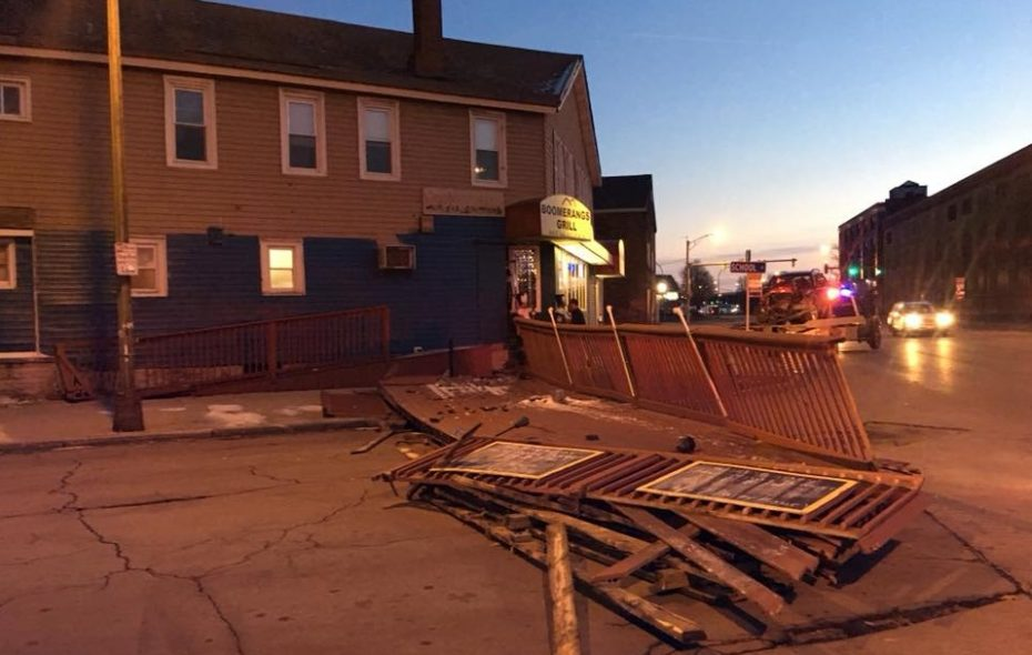 A still shot of the aftermath of the Niagara Street crash, where a driver forcibly removed the patio from Boomerang's. (via Boomerang's Facebook page)
