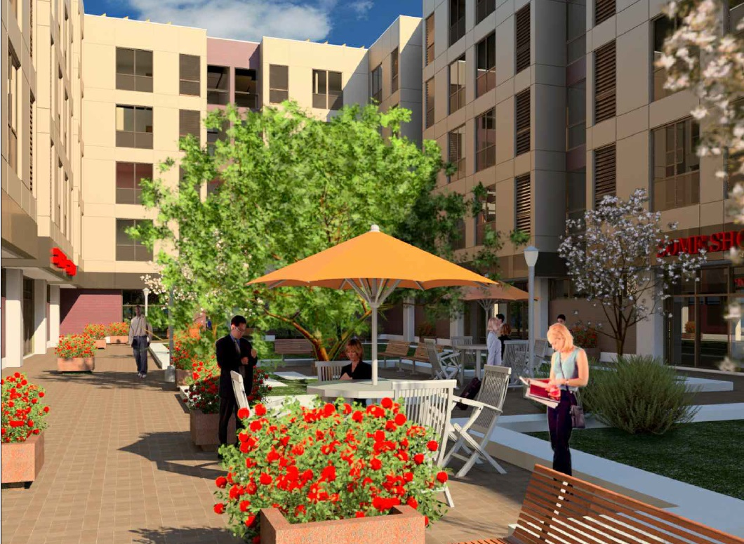 A rendering of Hormoz Mansouri's proposed project at 47 E. Amherst St., with the courtyard.
