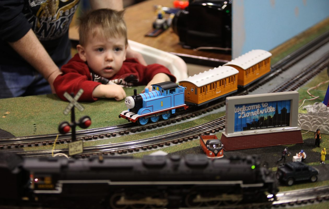 Gavin Lepsch, 2, of Hamburg, looks at a model railroad display at the Western New York Railway Historical Society Train Show, Saturday February 20th, 2010, at the Agri-Center on the Hamburg Fairgrounds.  (Buffalo News file photo)