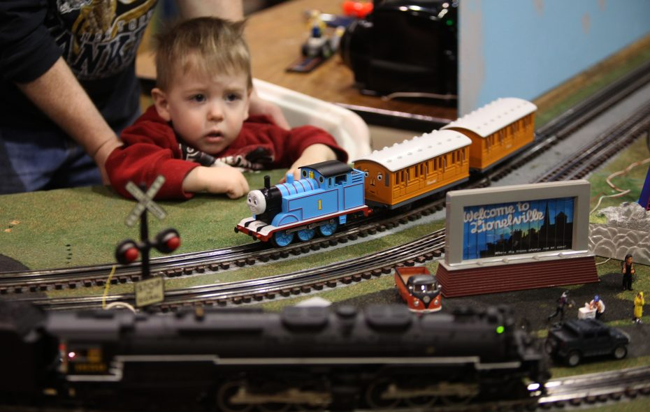 Gavin Lepsch, 2, of Hamburg, looks at a model railroad display at the Western New York Railway Historical Society Train Show, Saturday February 20th, 2010, at the Agri-Center on the Hamburg Fairgrounds.  (Buffalo News file photo)