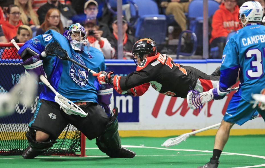 Buffalo Bandits Jordan Durston is stopped by Rochester Knighthawks goaltender Matt Vinc on Feb. 24, 2018, at the KeyBank Center. (Harry Scull Jr./News file photo)