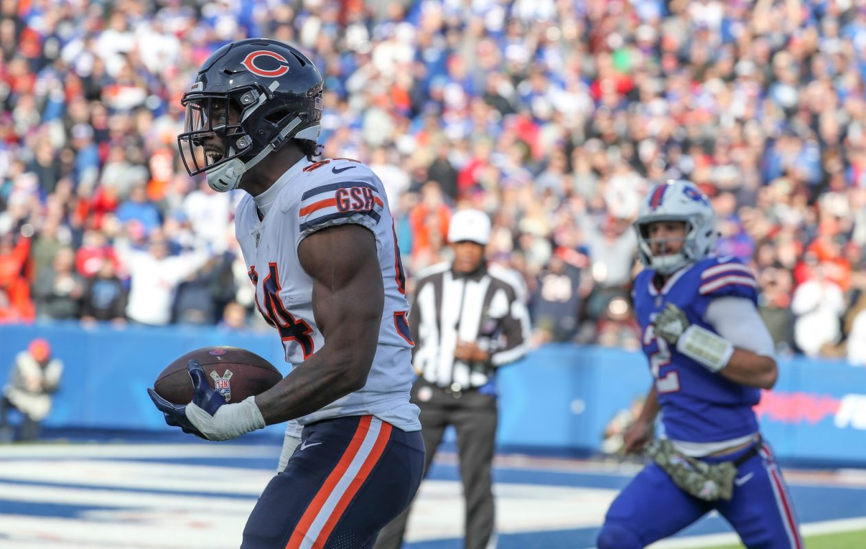Chicago Bears linebacker Leonard Floyd heads for the end zone as Buffalo Bills quarterback Nathan Peterman gives chase in the second quarter of Sunday's game at at New Era Field. (James P. McCoy/Buffalo News)