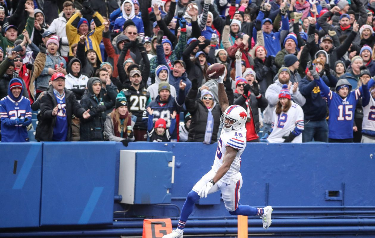 Buffalo Bills wide receiver Robert Foster (16) celebrates as he prances into the end zone for a touchdown during the first quarter against the Jacksonville Jaguars at New Era Field in Orchard Park, Sunday, Nov. 25, 2018. (James P. McCoy/Buffalo News)