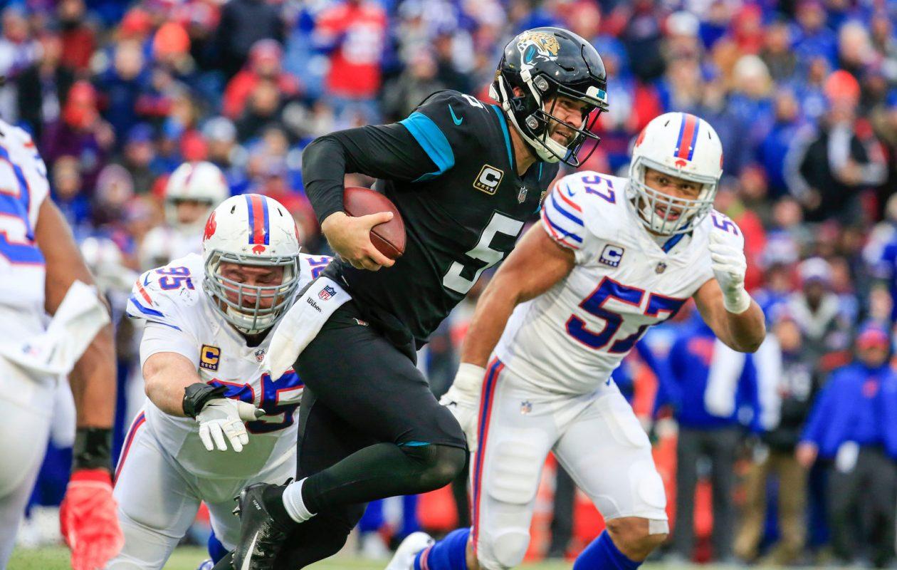 Kyle Williams pressures Jaguars quarterback Blake Bortles during a key third-quarter sequence. (Harry Scull Jr./Buffalo News)