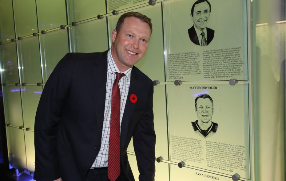 Martin Brodeur poses with his Hall of Fame plaque Friday in Toronto (Getty Images).
