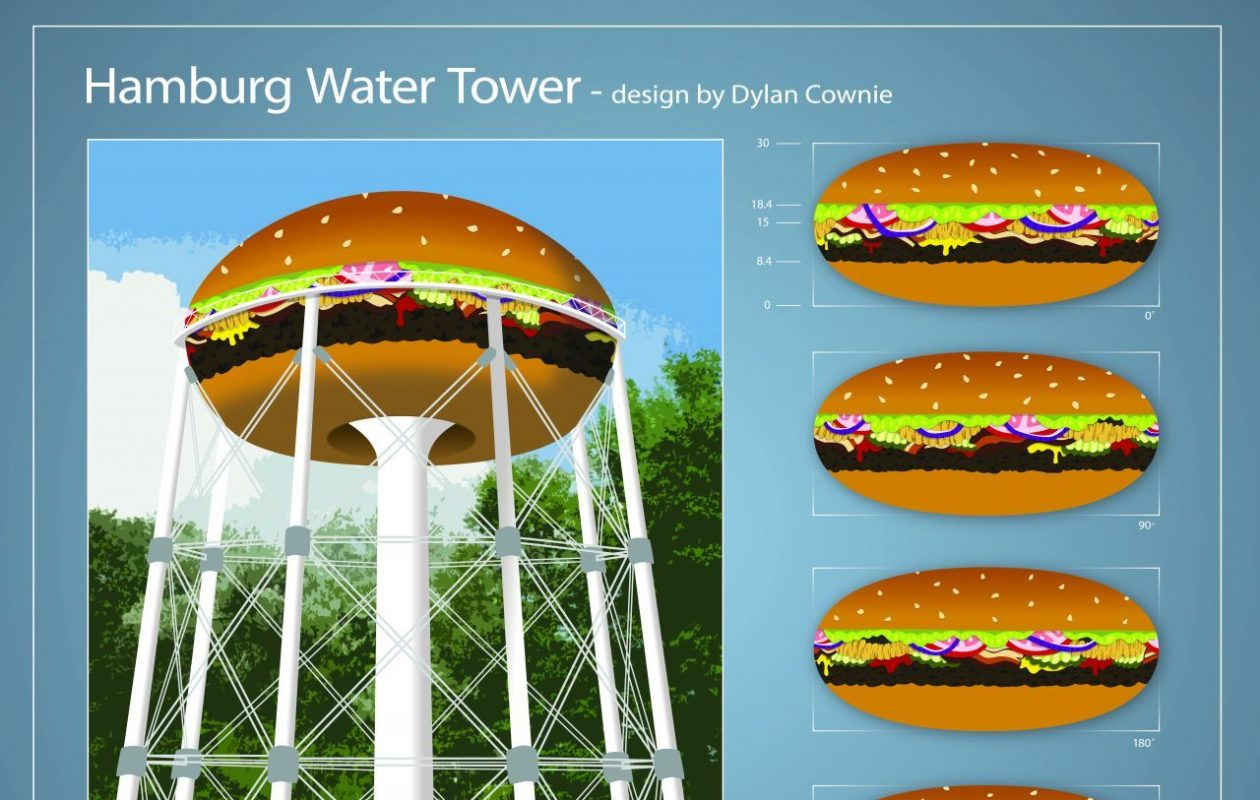 Dylan Cownie submitted this rendering for his vision of turning the Hamburg water tower into a giant hamburger.