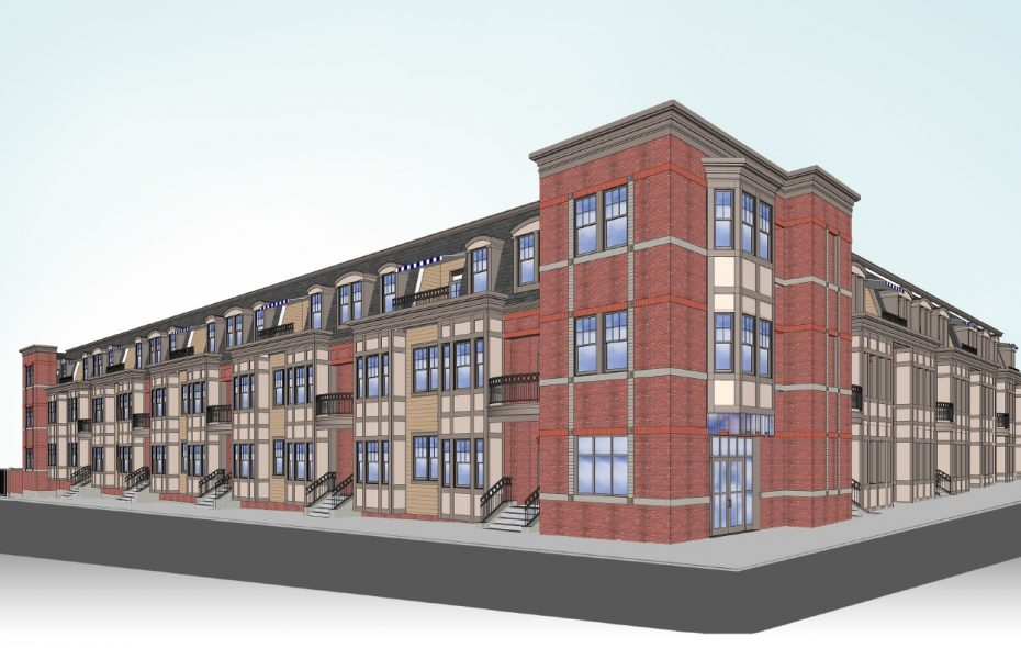 A rendering of the proposed Atlantic Central condominium project, from the corner of West Utica Street and Atlantic Avenue.