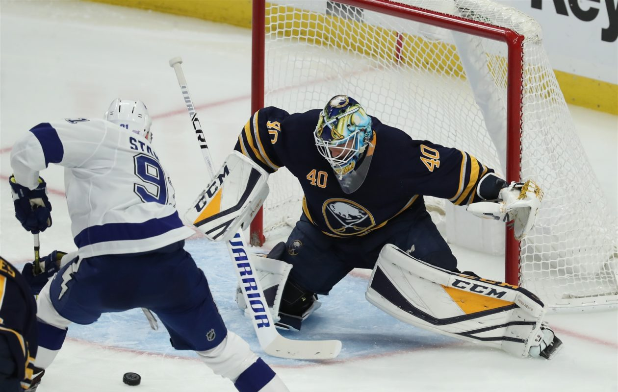Carter Hutton stopped 54 of 56 shots in wins over Tampa Bay and Winnnipeg (James P. McCoy/Buffalo News).
