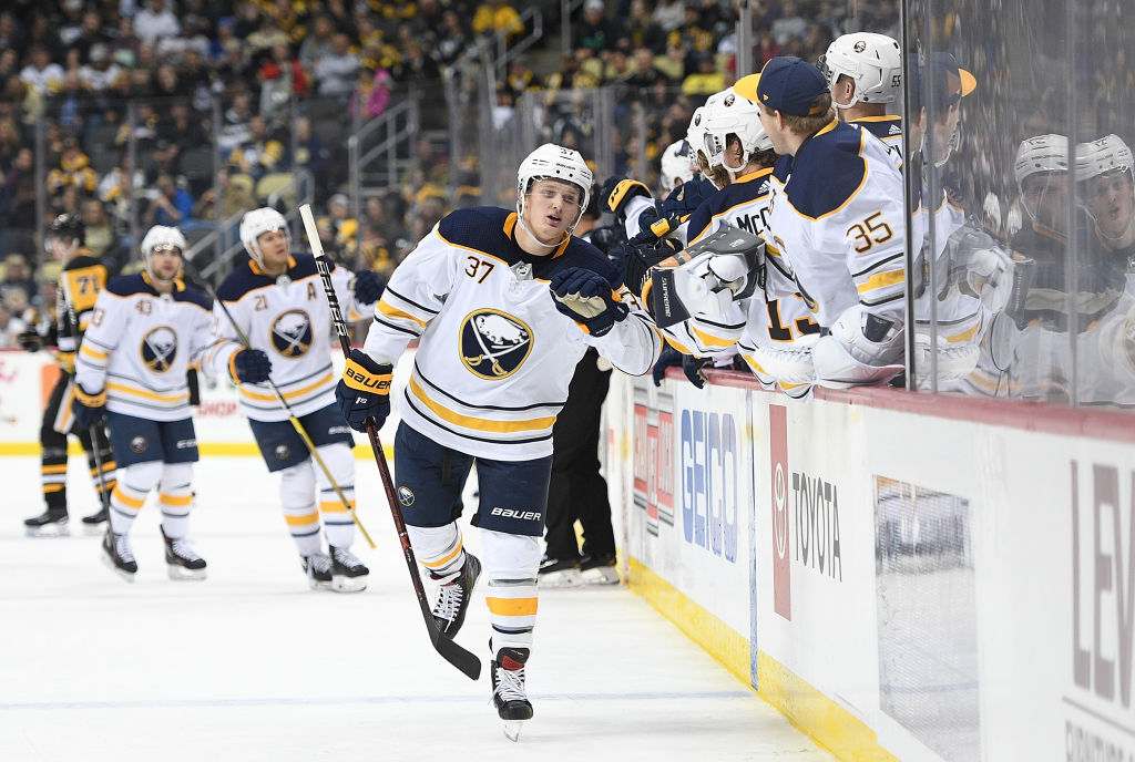 The Sabres' bench gives it up to Casey Mittelstadt after the tying goal in the third period Monday night in Pittsburgh (Getty Images).