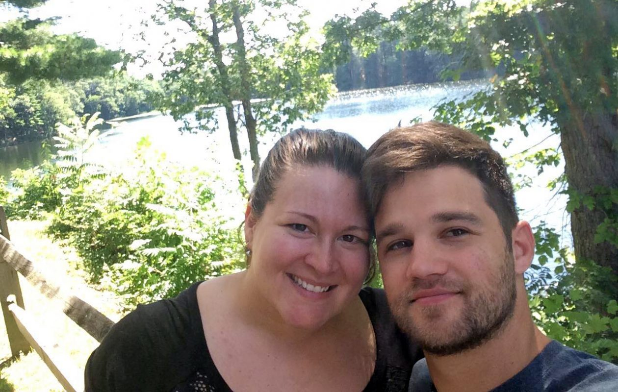 """Cristina Anderson and her husband, Tim, enjoy the sights around the Pocono Mountains in Pa., where they went following their wedding for a """"mini-moon."""" The couple took an abbreviated trip with the goal of getting out of debt."""