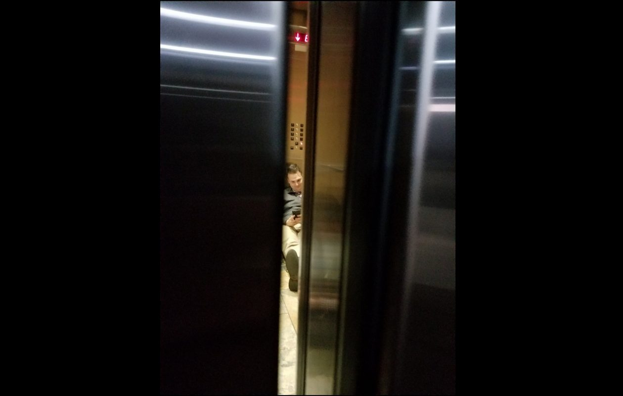 Mike Baggerman is stuck in an elevator at Democratic Headquarters. (Image via Twitter)