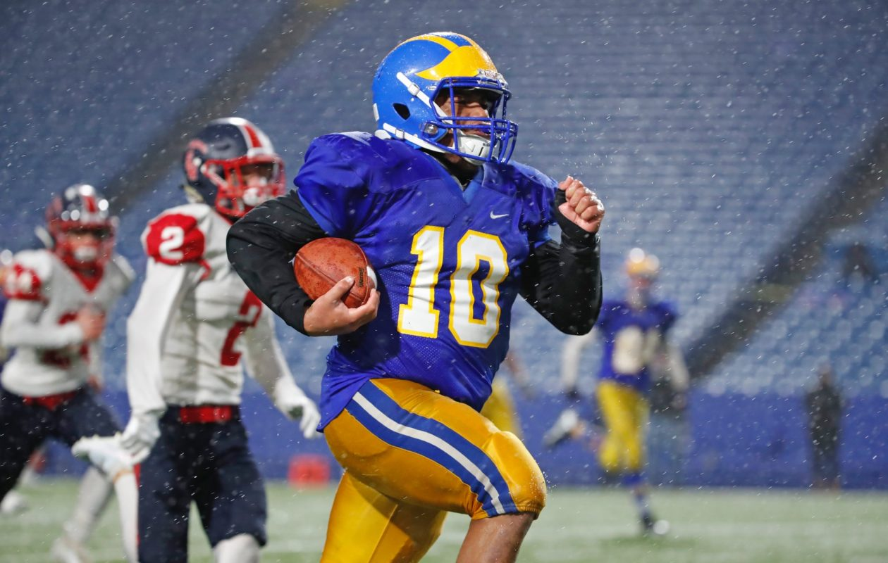 Cleveland Hill running back Aaron Wahler ran for 330 yards and three touchdowns on 24 carries Thursday in a 32-28 win against Southwestern in the Section VI Class C championship game. (Harry Scull Jr./The Buffalo News)