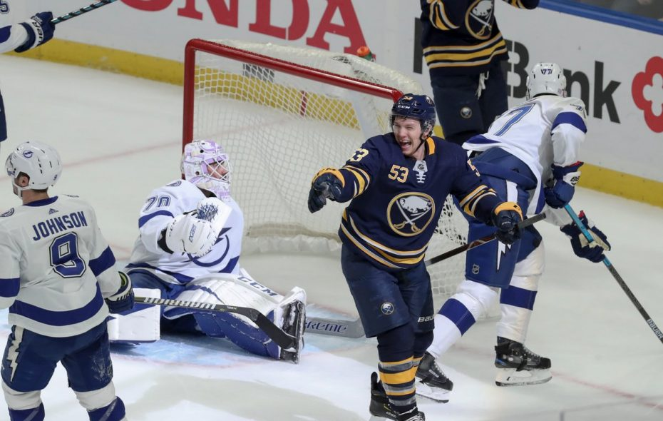 Sabres winger Jeff Skinner celebrates after his goal in the first period of the Sabres' 2-1 win over Tampa Bay Nov. 13 in KeyBank Center (James P. McCoy/The Buffalo News)