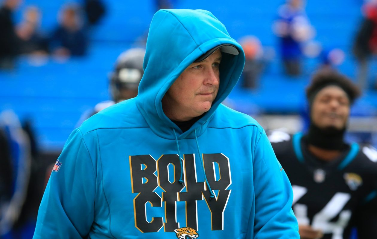 Jaguars coach Doug Marrone wears a 'Bold City' hoodie prior to a game against the Bills at New Era Field on Nov. 25, 2018 (Harry Scull Jr./Buffalo News)