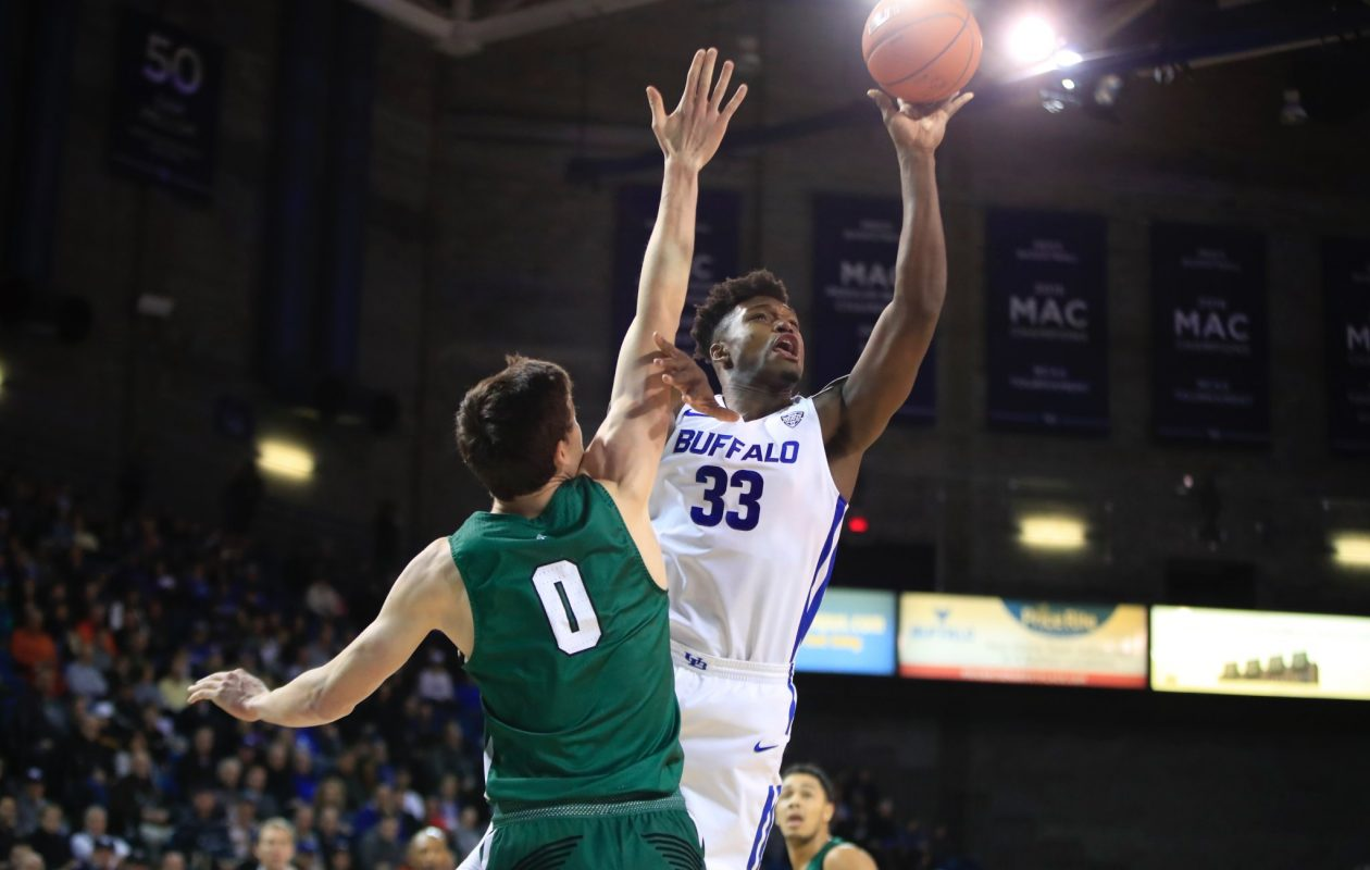 University at Buffalo forward Nick Perkins led the No. 22 Bulls with 18 points in a 110-71 win Wednesday against Dartmouth at Alumni Arena. (Harry Scull Jr./The Buffalo News)