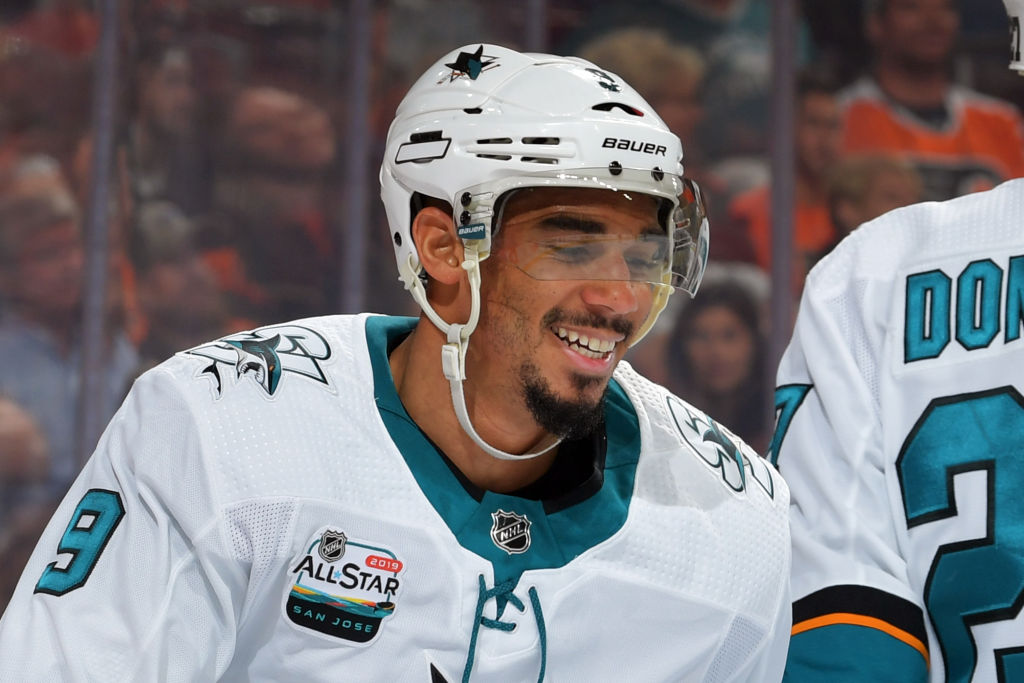 Evander Kane of the Sharks is back in town to meet the Sabres on Tuesday night (Getty Images).