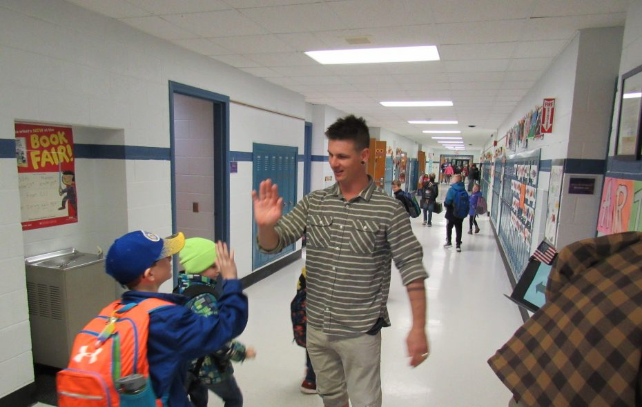 Paralympic gold medalist Evan Strong made quite an impression on students at Colden Elementary School during a visit last month. (Photos courtesy of Colden Elementary School)