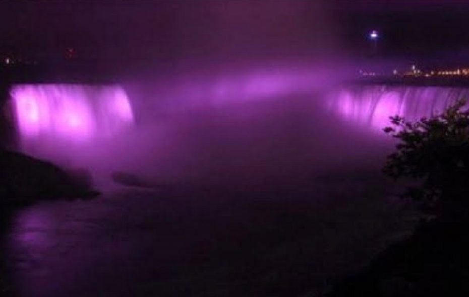 Several buildings in downtown Buffalo will be illuminated in purple Thursday night, and Niagara Falls throughout the month, to raise awareness about pancreatic cancer, the third-leading cancer killer in the U.S. (Photo courtesy of the Pancreatic Cancer Action Network)