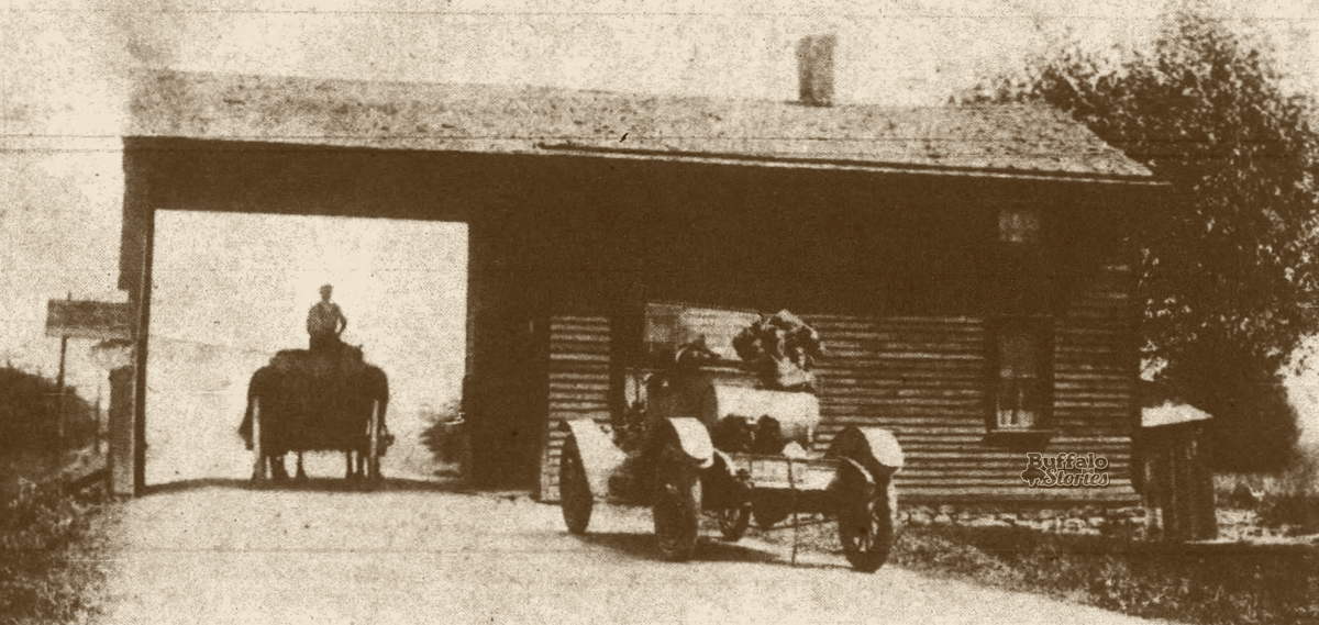 The last tollhouse in Erie County was on Genesee Street, 'about a mile from the city line.' This photo was taken in 1914 shortly before it was torn down.