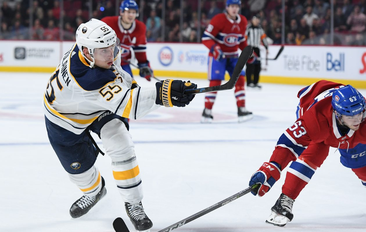 Rasmus Ristolainen fires a shot and scores the winning goal against the Montreal Canadiens at the Bell Centre on Nov. 8. (Francois Lacasse/NHLI via Getty Images)