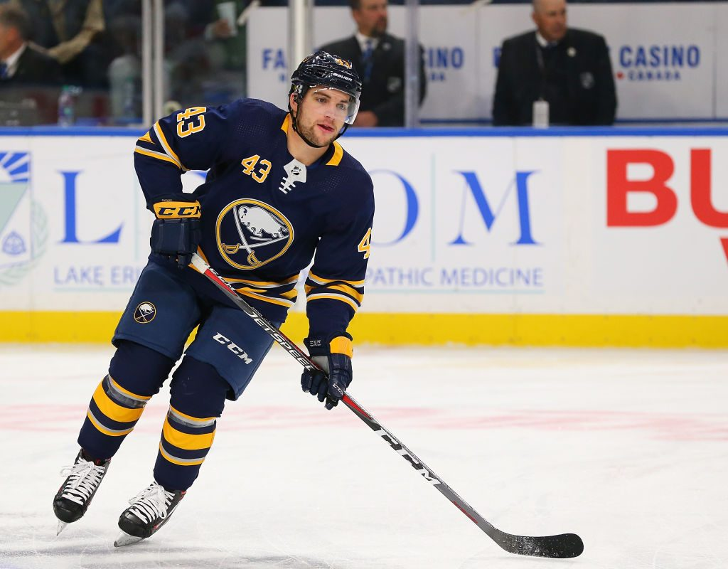 Sabres winger Conor Sheary is expected to play after leaving practice Monday. (Kevin Hoffman/Getty Images)