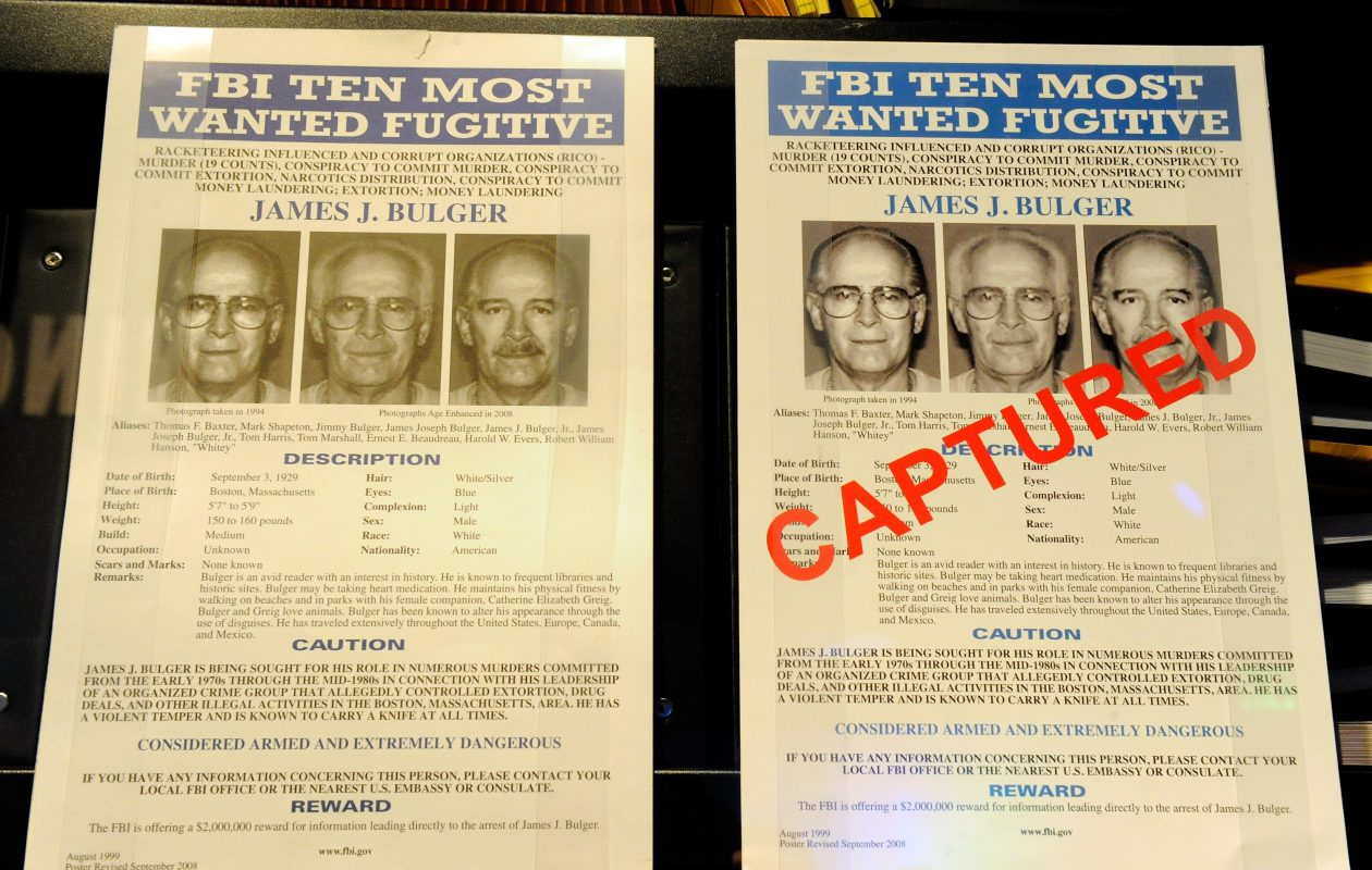 FBI Wanted posters for James Bulger are displayed at the Mob Museum in Las Vegas in 2012. (Getty Images file photo)