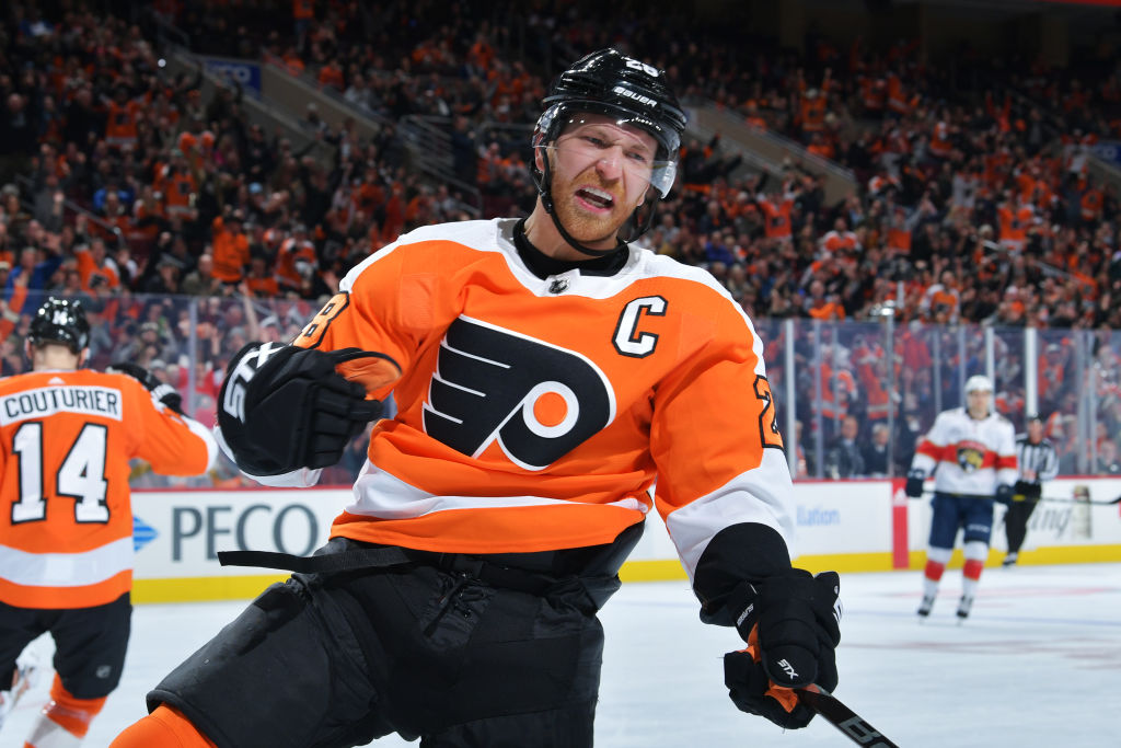 Flyers captain Claude Giroux has 30 points in 33 career games against the Sabres. (Getty Images)