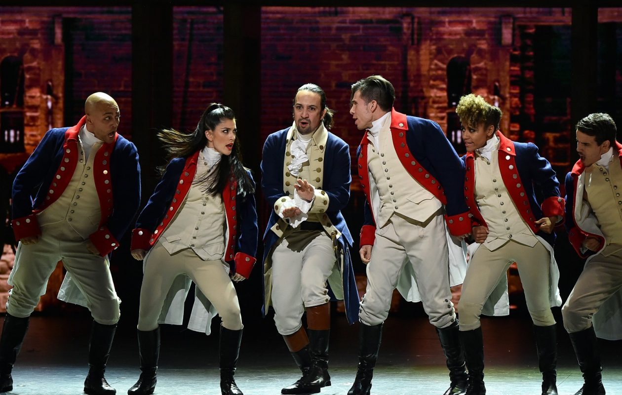 Lin-Manuel Miranda and the cast of 'Hamilton' perform onstage during the 70th Annual Tony Awards at The Beacon Theatre in New York City.  (Photo by Getty Images)