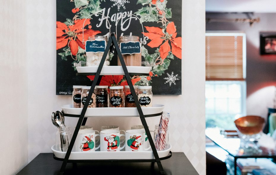 Add a touch of holiday cheer to any nook with this easy-to-throw-together hot chocolate bar. (Katie Friedman)