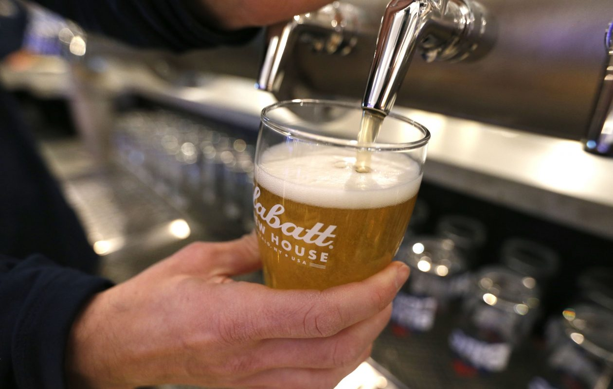 The new Labatt Brew House taproom features four taps with Labatt standard beers and eight that pour test batch brews.  (Robert Kirkham/Buffalo News)