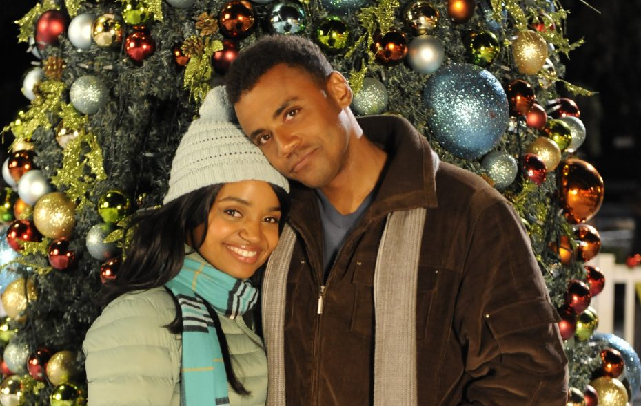 """Kyla Pratt and Jarod Joseph are childhood friends who made """"The Christmas Pact"""" in the new Lifetime original holiday movie."""