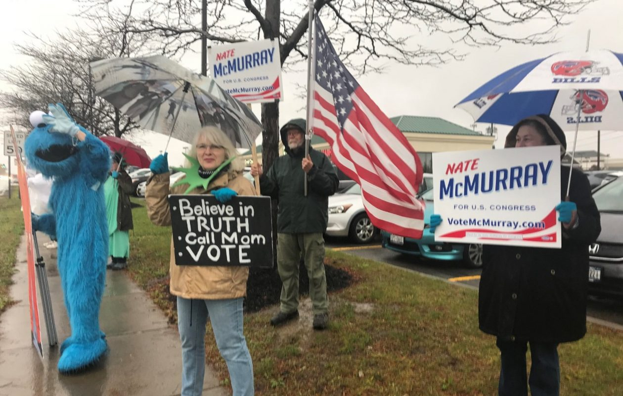 Campaigners for Democratic congressional hopeful Nathan McMurray -- including 'the biscuit beast' and Anne Kaczynski -- gather in Orchard Park Thursday afternoon. (Contributed photo)