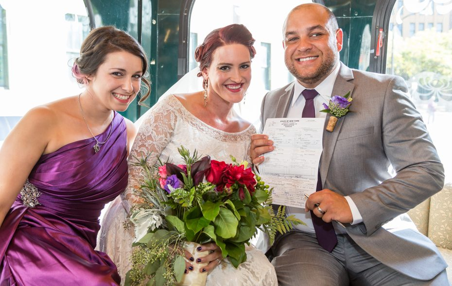 Lizz and her two marriage license witnesses, just moments after they signed it en route to the ceremony at St. Joseph's Cathedral.  (Dave Marino Photography)