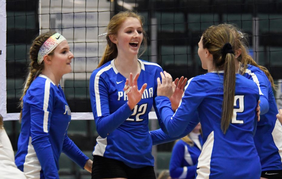 Panama's Alexys Marsh (22) high-fives her teammates following a point scored during Saturday's pool play. (Jenn March/special to The Buffalo News)