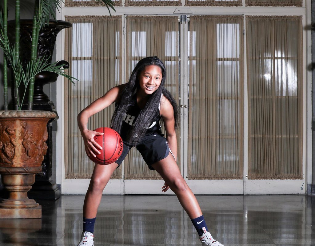 The 2017-18 Sister Maria Pares Buffalo News Girls Basketball Player of the Year Angel Parker signed her letter of intent to play college basketball at Siena. (James McCoy/Buffalo News)
