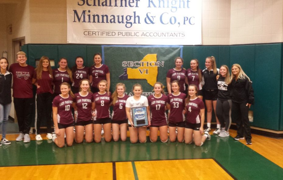Portville strikes the champion's pose after defeating Eden in the overall Section VI Class C final.