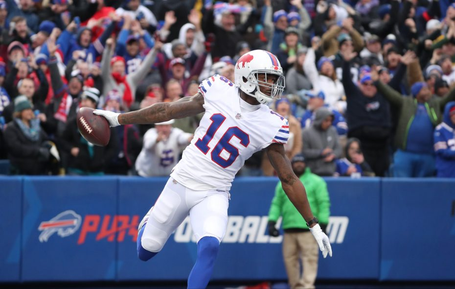 Buffalo Bills wide receiver Robert Foster catches a pass for a 75-yard touchdown in the first quarter at New Era Field in Orchard Park. (James P. McCoy/Buffalo News)