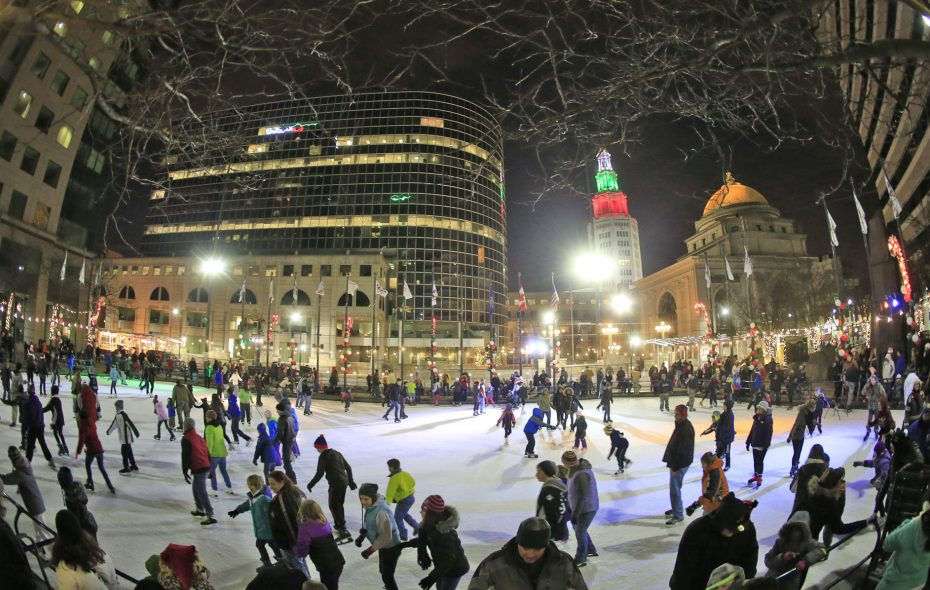 Ice skating is always free at downtown's Rotary Rink. (Photo courtesy Buffalo Place)