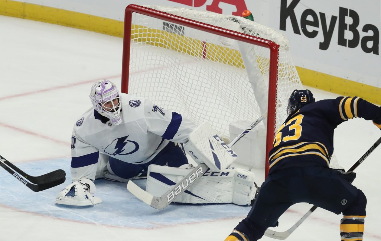 The emergence of players such as Jeff Skinner, here scoring in Tuesday's game with the Tampa Bay Lightning, and early season success has led to higher TV ratings for Sabres' games. (James P. McCoy/Buffalo News)