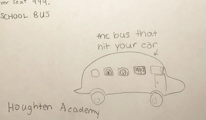 The drawing of a bus - showing alarmed students after their driver hit a car and drove away - that has drawn so much attention on Twitter. (Image courtesy of Andrew Sipowicz)